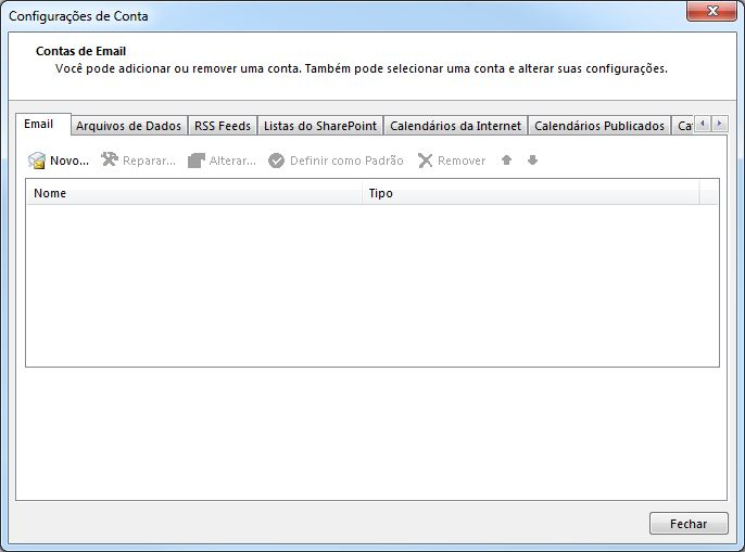 Configurando email no Microsoft Office Outlook 2013 - Tela 2