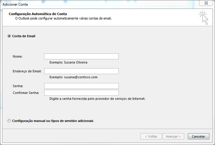 Configurando email no Microsoft Office Outlook 2013 - Tela 3