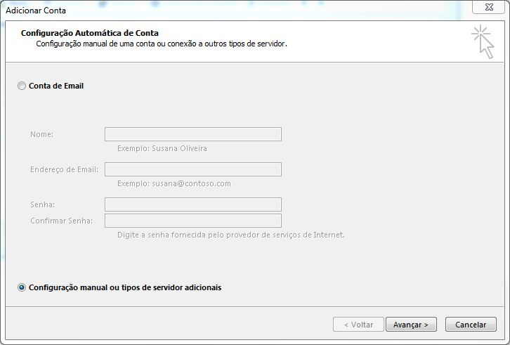 Configurando email no Microsoft Office Outlook 2013 - Tela 4