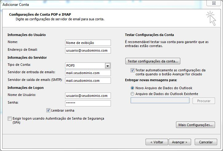 Configurando email no Microsoft Office Outlook 2013 - Tela 6